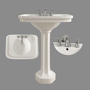 現代衛浴陶瓷洗手臺模型