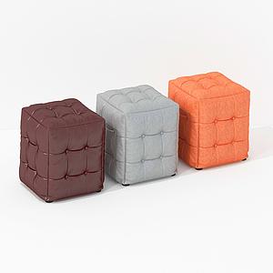 法式布藝小方凳模型