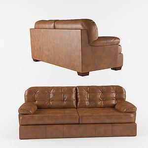 美式休閑真皮雙人沙發模型
