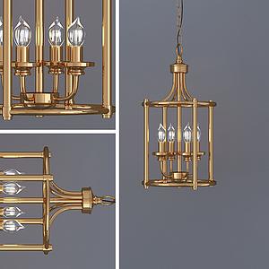 歐式復古蠟燭吊燈模型