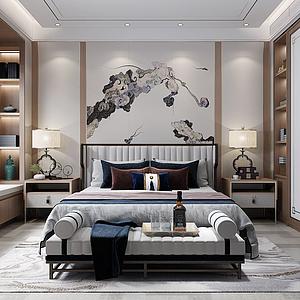 3d中式风格的卧室模型