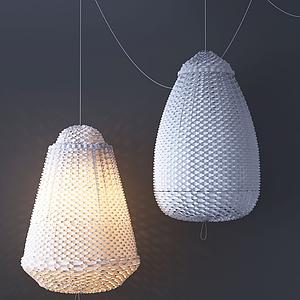 新中式編織吊燈模型