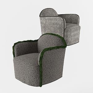 現代休閑扶手桌椅模型