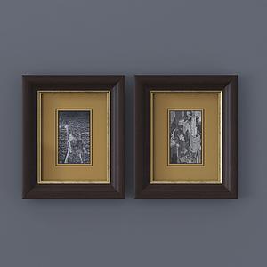 現代相框裝飾畫室內掛畫模型