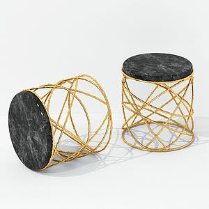 現代鐵藝繞圈凳子模型