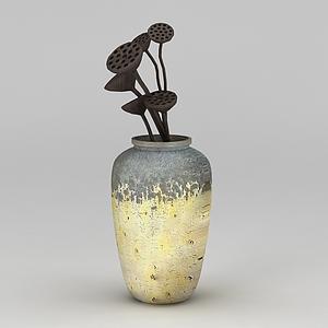 中式复古花瓶模型