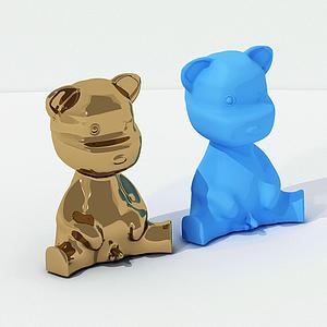 現代桌面擺件小熊臺燈模型