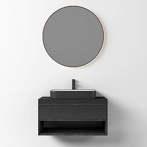現代木質洗手臺圓鏡模型