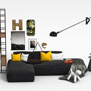 拐角沙发铁艺置物架组合模型