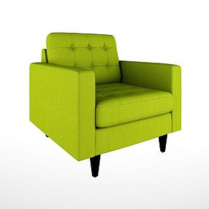 美式休閑單人嫩綠沙發模型