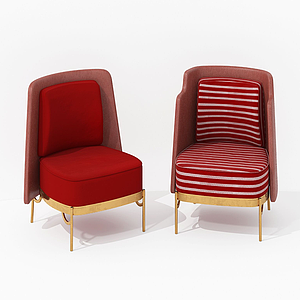 現代紅色休閑椅模型