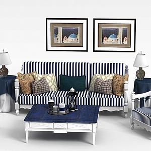 地中海沙發椅子茶幾組合模型
