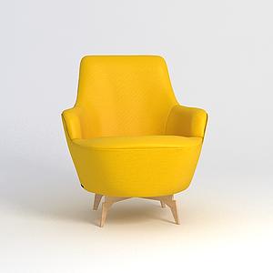 3d時尚黃色沙發椅模型