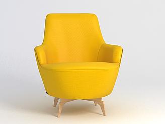 時尚黃色沙發椅模型