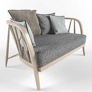 北歐休閑麻布衣雙人沙發模型