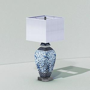 現代青花瓷臺燈模型