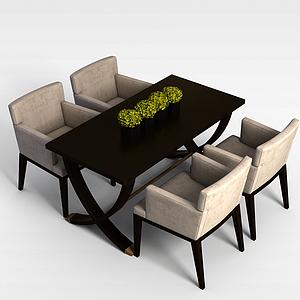 中式餐桌餐椅組合模型