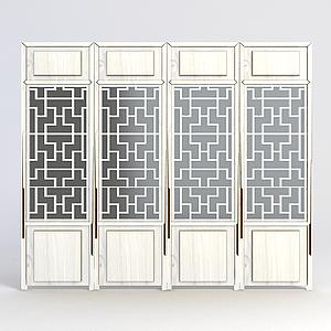 中式雕花門窗模型
