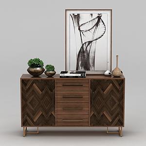 中式实木玄关柜模型