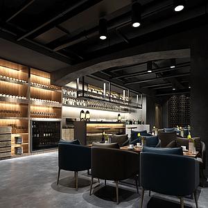 工業風格酒吧模型