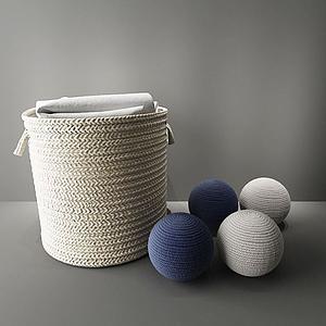 毛線編織收納筐模型