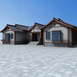 3d中式民居模型