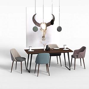 北歐餐桌椅模型