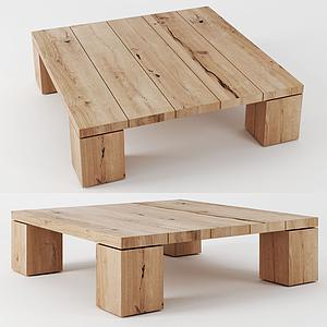 現代實木矮桌模型