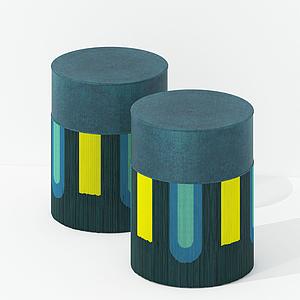 現代布藝彩色凳模型