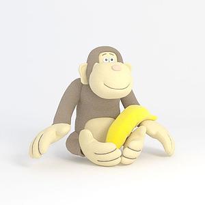 3d小<font class='myIsRed'>猴子</font>玩偶模型