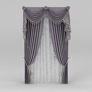 藕荷色窗帘模型