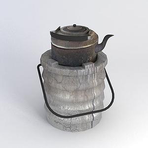 泥爐燒水壺模型