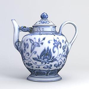 青花瓷水壺模型