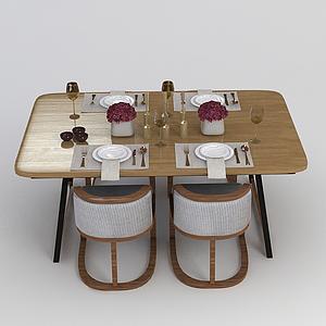 西式餐桌椅模型