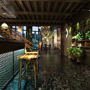 工業風格咖啡廳模型