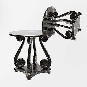 現代卷尾巴休閑圓桌模型