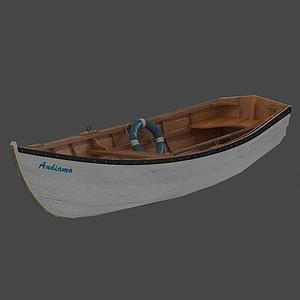 白色小木船模型