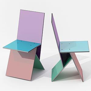 現代彩色休閑靠椅模型