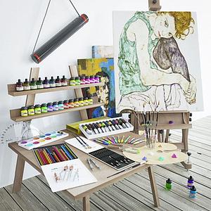 畫具顏料畫架組合模型