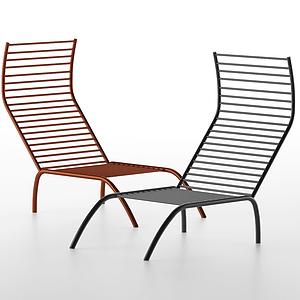 現代休閑鐵藝躺椅戶外椅模型