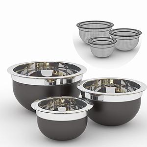 現代廚房用品不銹鋼盆模型