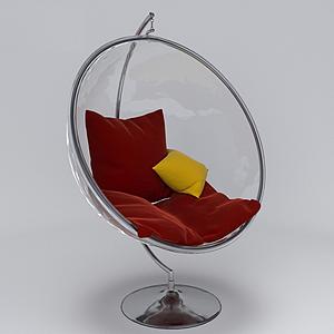 北歐休閑紅色吊椅模型