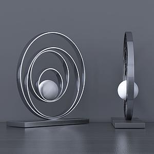 現代設計創意圓圈臺燈模型