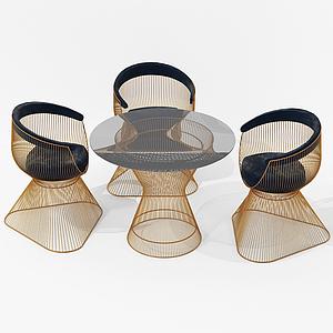 現代休閑桌椅鐵藝模型