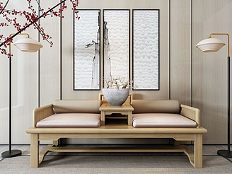新中式羅漢床模型