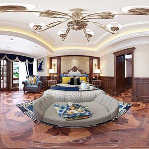 簡美式風格主臥室全景模型