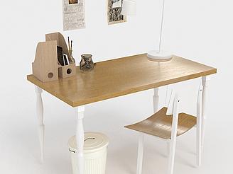 現代書桌椅組合模型