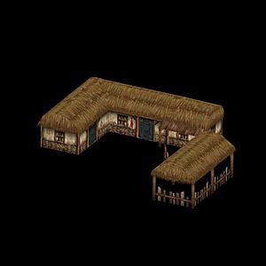 游戲茅草屋模型