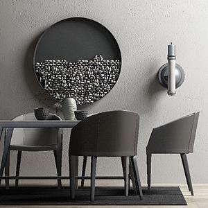 现代桌椅装饰画组合模型