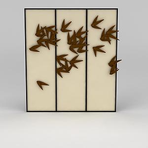 簡約竹子組合掛畫模型
